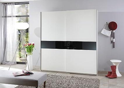 Schwebeturenschrank Schiebeschrank Kleiderschrank Schrank SPEED in Weiss / Schwarz ca. 167 cm breit