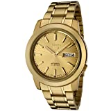 Seiko Men's 5' Japanese Automatic Gold-Tone-Stainless-Steel Casual Watch, Color:Gold (Model: SNKE56) (Color: Gold)