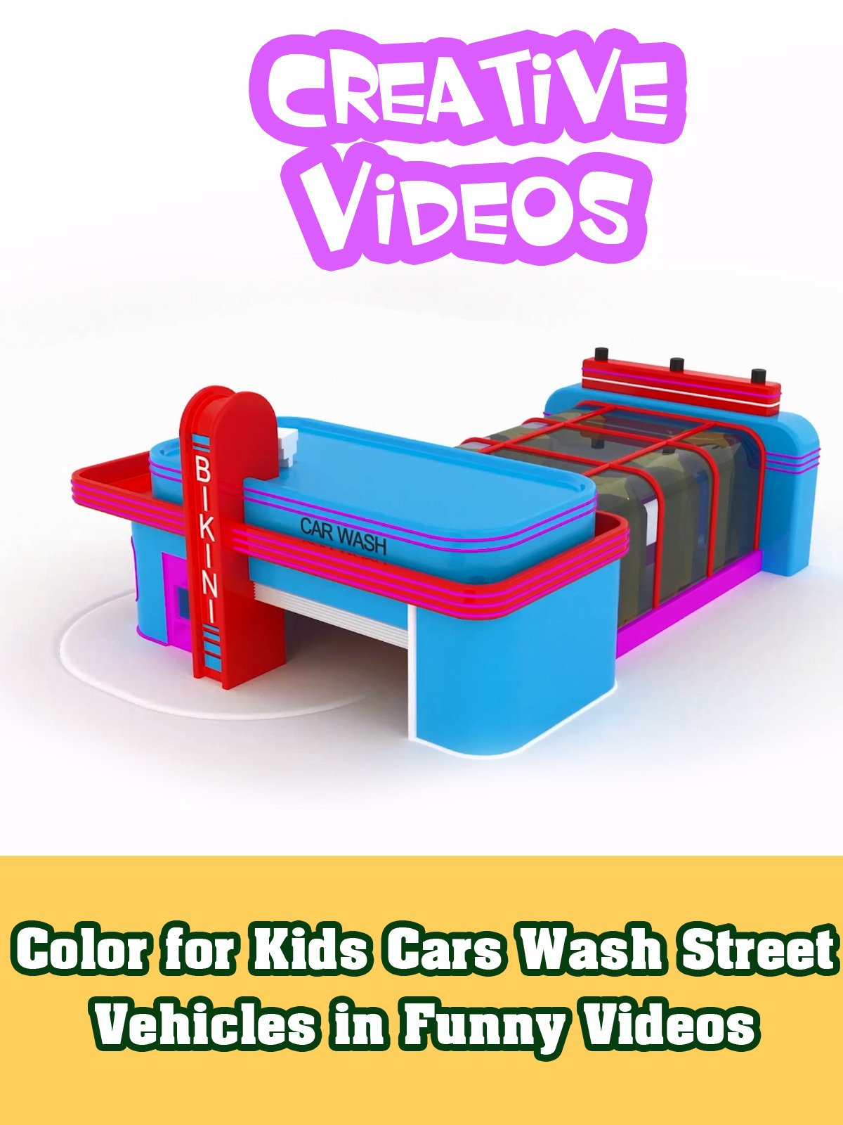 Color for Kids Cars Wash Street Vehicles in Funny Videos