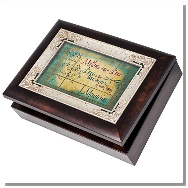 Mother-in-Law Family Memories Cottage Garden Italian Style Burlwood Finish with Decorative Inlay Jewelry Music Box Plays Song You Light Up My Life