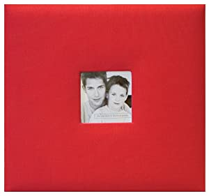 MCS MBI Fashion Fabric Postbound Album 8-Inch by 8-Inch, Red, 9.6 x 8.5 Overall