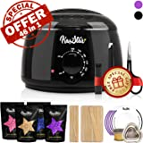 Professional Wax Warmer - KasStar Waxing Kit Hair Removal with 4 Different Flavor Hard Wax Beans 30 Wax Applicator Sticks 5 Protective Collars 3 Small Bowls and SPECIAL GIFT (at-Home Waxing) (Color: Waxing Kit - Black Wax Warmer)