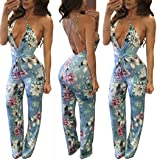 Taore Women Sexy Sleeveless Floral Print Strap Bandage Backless Casual Clubwear Jumpsuit Romper (L, Blue)