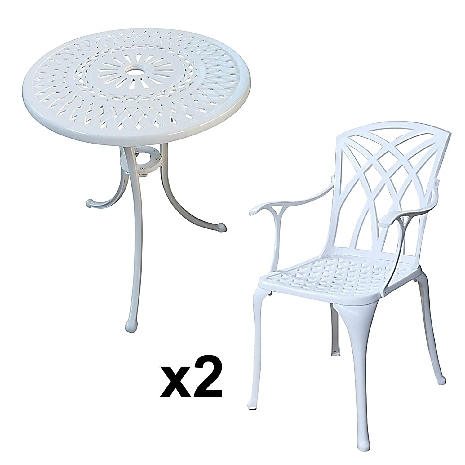 lazy susan eve 60 cm bistrotisch mit 2 st hlen rundes gartenm bel set aus metall wei. Black Bedroom Furniture Sets. Home Design Ideas