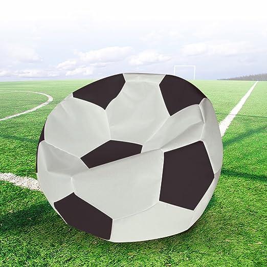 MUYSM Bolso creativo del grano del diseño del fútbol del cuero del Faux Silla de Beanbag impermeable adulto de los niños Silla suave y cómoda de la haba Beanbag del juego Silla de jardín del asiento ( Color : Black And C