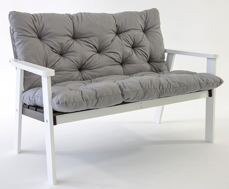 GARDENho.me Nordische 2-Sitzer Massivholz Gartenbank HANKO inkl. Kissen 5 Farbvarianten Weiß/Taupegrau jetzt bestellen