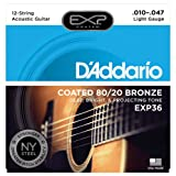 D'Addario EXP36 with NY Steel 80/20 Bronze 12-String Acoustic Guitar Strings, Coated, Light, 10-47 (Color: 12 String Light | EXP36, Tamaño: Light, 12-String, 10-47)