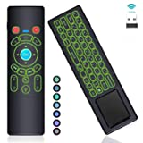 [7-Color LED] Gyro Air Remote Mouse Mini Keyboard Remote Control Touchpad,RC T6+ 2.4GHz Wireless USB Remote Backlit for Mac Mini,Kodi,Windows 10,Linux,Android TV Box,PC,Laptop,HTPC,Raspberry Pi 3 B (Color: 7-Color Backlit Gyro air remote mouse, Tamaño: 6.88x1.97x0.71 in)