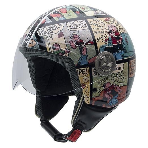 NZI 490022G561 Vintage II Smack Casque de Moto, Illustration Popeye, Taille : L