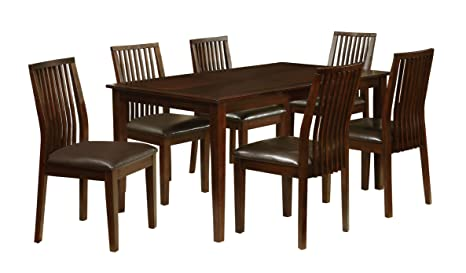 Furniture of America Denver 7-Piece Dining Set, Walnut