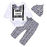 3Pcs Cute Boys Hipster Bowtie Strap Long Sleeve Bodysuit +Moustache Pants+Hat Outfits Set 70(0-3M, White) (Color: White, Tamaño: 0-6M)