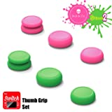 Skull & Co. Skin, CQC and FPS Thumb Grip Set Joystick Cap Analog Stick Cap for Nintendo Switch Joy-Con Controller - Neon Pink+Green(Splatoon2 Edition), 3 Pairs(6pcs)