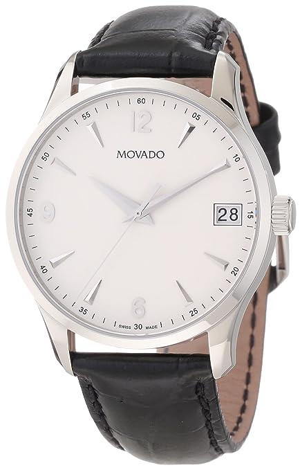 "Movado Men's 0606569 ""Circa"" Black Crocodile-Embossed Leather Strap Watch-奢品汇 | 海淘手表 | 腕表资讯"