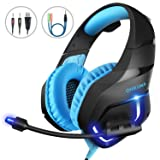 MillSO K1 Gaming Headset for PC, PS4, Xbox One, Stereo Over-Ear Noise Cancelling Headphones with Mic, LED Light, Soft Memory Earmuffs and Volume Control for Laptop Mac Nintendo Switch Games - Blue (Color: Blue)