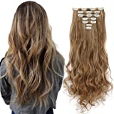3-5 Days Delivery 7Pcs 16 Clips 24 inch Wavy Curly Full Head Clip in on Double Weft Hair Extensions (Color: Ash Blonde Mix Ginger Brown, Tamaño: synthetic hair-24 Inch-160g)