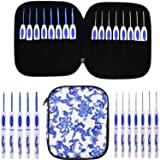 KOKNIT 16 PCS Ergonomic Crochet Hooks Set with Luxurious Case,Blue and White Porcelain Knitting Needles Plastic Handle Grip DIY Craft Weaving Tool All Size (Crochet Hooks Set with case) (Color: crochet hooks set with case)