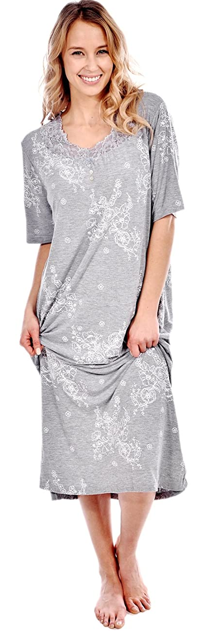 Patricia Women's Short Sleeve Floral Long Nightgown 2