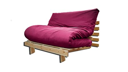 Sofa bed Roots, Natural, Bordeaux Cover, 200 x 90 cm.