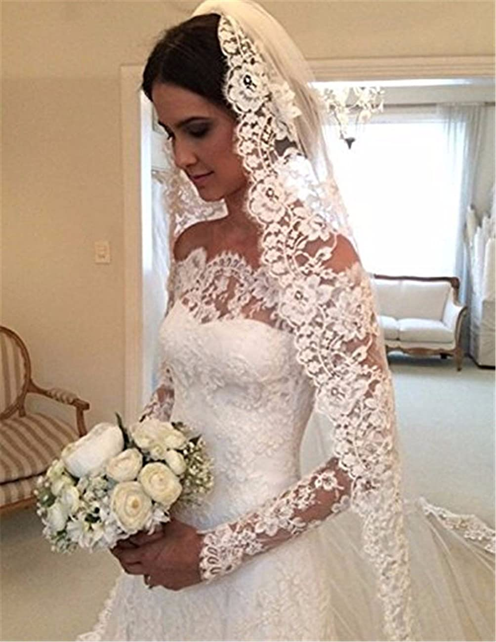 Arrowder Vintage Long Sleeves Beteau Lace Mermaid Wedding Dresses 2016 1