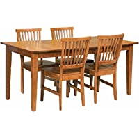 5-Piece Home Style 5180-318 Arts and Crafts Rectangular Dining Set (Cottage Oak Finish)