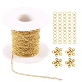 Tiparts 33FT 18K Gold Plated Cable Chains Stainless Steel Extender Chains Link Necklace Bulk for Jewelry Making with with 20 Lobster Clasps and 50 Jump Rings (Gold, 2mm) (Color: Gold, Tamaño: 2mm)