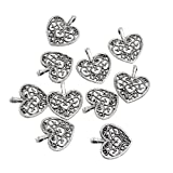 RUBYCA 90PCS Charm Pendant Heart Tibetan Metal Beads Silver Color for Jewelry Making DIY Bracelet (Color: Heart-patterns, Tamaño: 90 PCS)