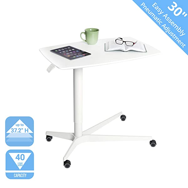 Seville Classics Airlift 30 Gas-Spring Height-Adjustable Overbed Mobile Medical Bedside Table Cart for Hospitals and Homes, White (Color: White, Tamaño: 30)