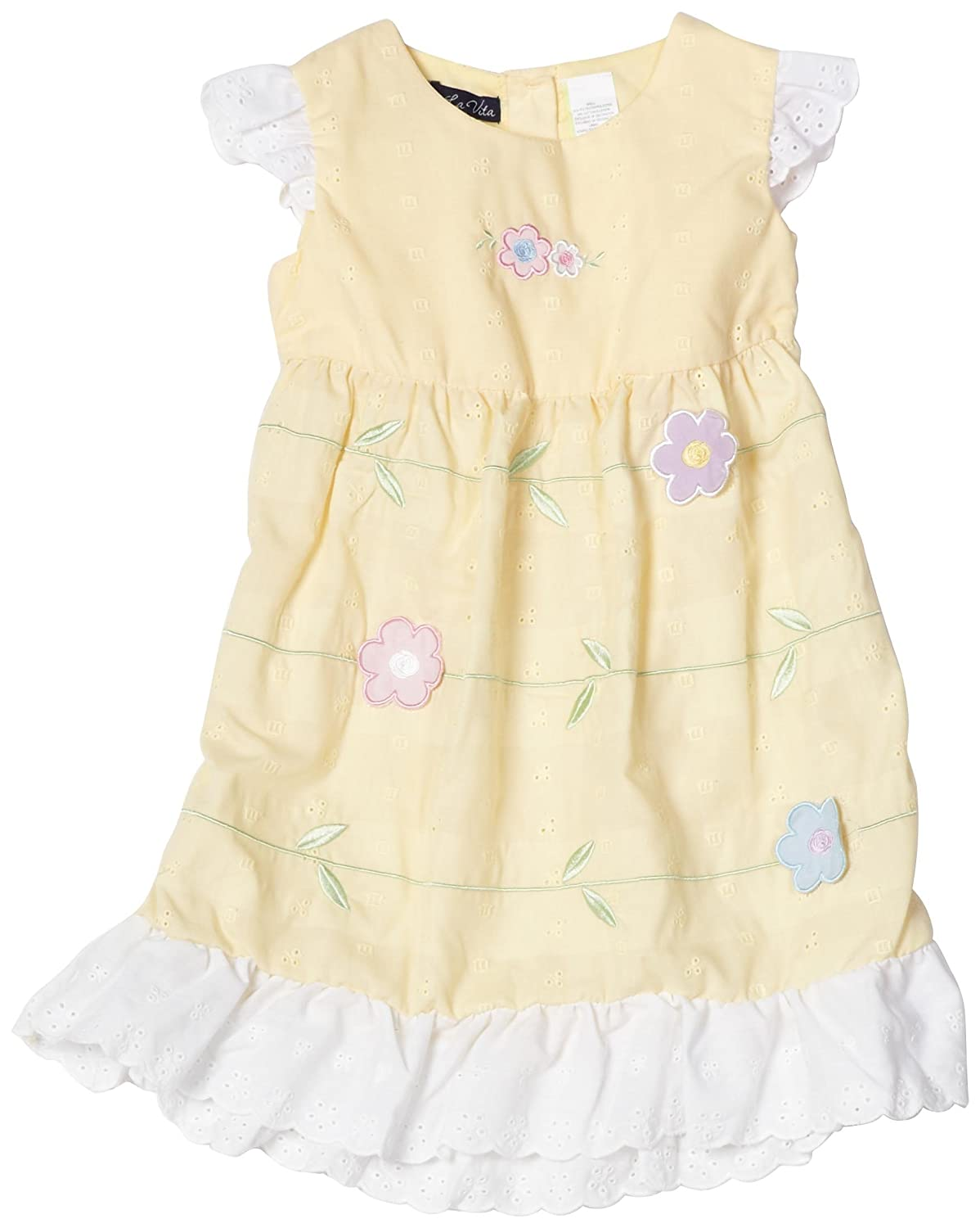 So La Vita Girls 2-6X Eyelet 3D Flower Dress, Yellow, 6