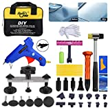 Fly5D 42 Pcs Paintless Dent Repair Tools Kit -Silver Bridge Puller with Dent Removal Pulling Tabs Suction Cup Plate PDR Hot Melt Glue Gun Pro Glue Sticks