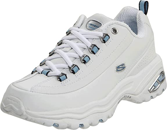Skechers Women's Premium-Wide Sneaker,White/Blue,10 W