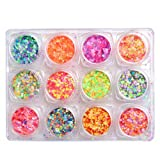 WOKOTO Mixed Colors Iridescent Flakes Nails Round Colorful Nail Glitter Sequins Decals 3D Nail Art Decorations 12 Boxes Set