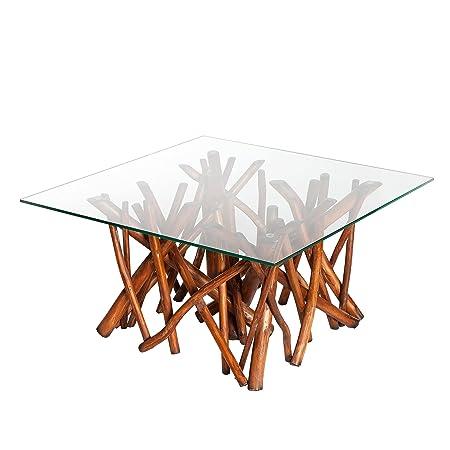 Design Teakholz Couchtisch DRIFTWOOD natur braun mit Glasplatte eckig Glastisch Holztisch Treibholz