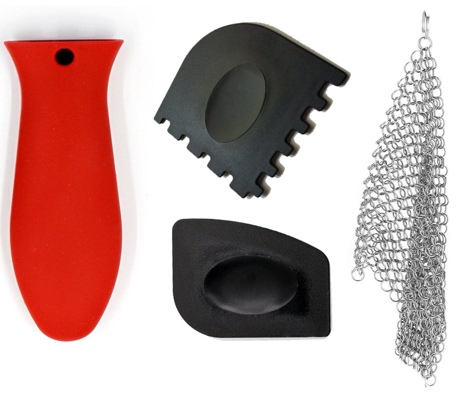Sir Scrubs A Lot Premium Cast Iron Cleaner Stainless Steel Chain Mail Skillet Scrubber & Accessories