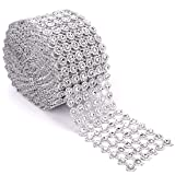 Foraineam 10 Yards / 30 Feet Rhinestone Crystal Ribbon Faux Diamond Ribbon Wrap Silver Flower Shape Mesh Wrap Roll (Color: Silver)