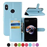 Xiaomi Redmi Note 5 Case,AMASELL [Stand View] PU Leather Flip Cover with Card Slots Holder Folio Wallet Cases for Xiaomi Redmi Note 5/Note 5 Pro 5.99 Inch,Blue (Color: Blue)