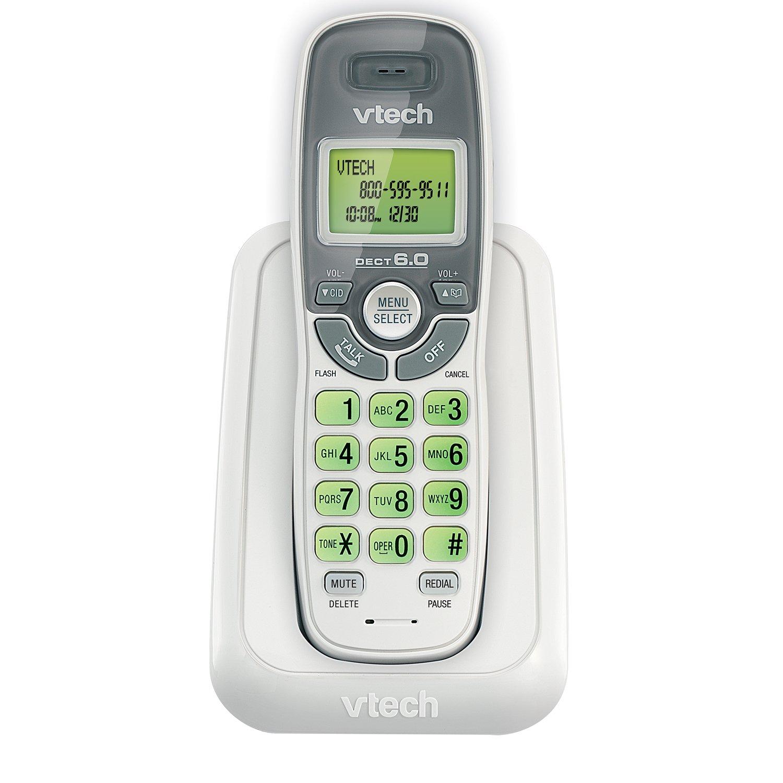 Telefonos-fijos Vtech, VTech CS6114 DECT 6.0 teléfono inalámbrico con identificador ID/llamada en espera, blanco con teléfonos inalámbricos 1 auricular  en Veo y Compro