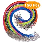 """Paxcoo 150PCS 1.5mm Waxed Cotton Necklace Cord Bulk with Clasp for DIY Jewelry Making, Mix Color (18"""")"""