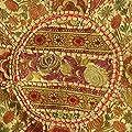 EYES OF INDIA - 43.2cm BRAUNE RUNDE BLUMEN BESTICKT PATCHWORK SITZKISSEN Indisches Ethnisches Dekor von Eyes of India bei Gartenmöbel von Du und Dein Garten
