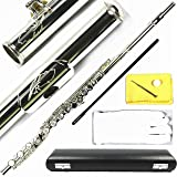 Engraved Design Italian Pads 17 Keys Open Hole Silver Plated Flute