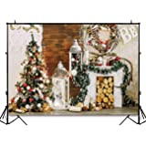 Funnytree 7X5ft Rustic Christmas Tree Photography Backdrop Vintage Xmas Fireplace Wood Log Indoor Photographic Background Portrait Photobooth Decorations Banner Photo Studio Portrait Props (Color: style18, Tamaño: Thin vinyl 7'x5'/5'x7')