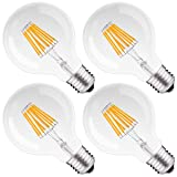 DORESshop LED Edison Bulb Dimmable, G25 Globe Vintage Filament Bulb, 8W (75W Equivalent), 2700K Warm White, Medium Base (E26), 800lm, Bathroom Vanity Light Bulbs, 4PACK