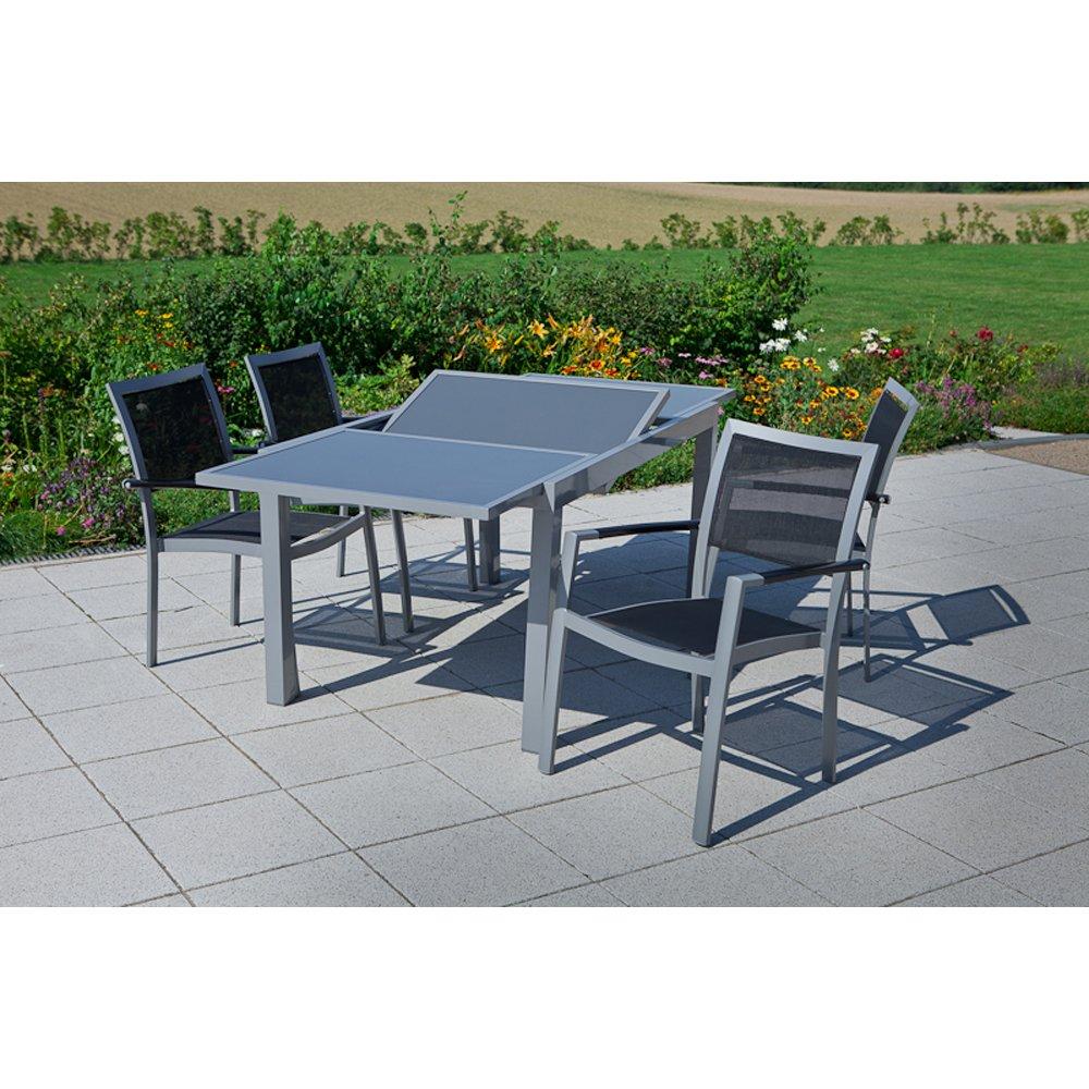MERXX Gartenmöbel-Set Ferrara 5-tgl. mit Stapelsessel und Tisch 160×90 cm kaufen