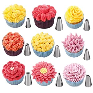 Russian piping tips 48 Icing Piping Tips Cake decorating supplies kit, Flower Frosting Tips Large Cupcake Decorating Set (Tamaño: 87pcs Russian Tips)