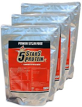 5 STARS PROTEIN, herausragendes Protein, 3x500 g, toller Geschmack, 100%ige Löslichkeit, Vanille-Sahne; Banane-Sahne; Erdbeer-Sahne
