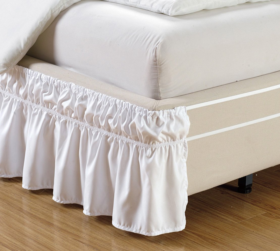 Wrap Around 15 Quot Inch Fall White Ruffled Elastic Solid Bed