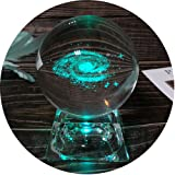 3D Galaxy Crystal Ball Night Lamp, Clear 80mm (3.15 inch) Galaxy Glass Ball with Colorful LED Base, Best Birthday Gift for Kids, Teacher of Physics, Girlfriend Gift, Classmates and Kids Gift (Color: Galaxy)