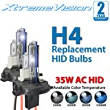 XtremeVision AC HID Xenon Replacement Bulbs - H4/9003 6000K - Light Blue (1 Pair) - 2 Year Warranty (Color: 6000K - Light Blue, Tamaño: H4 (9003/HB2) HID Low / Halogen High)