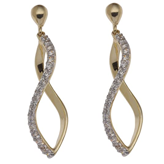 Adara 9 ct Yellow Gold Cubic Zirconia Figure Eight Drop Earrings