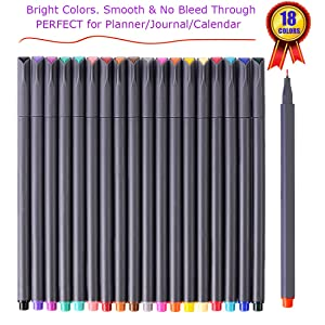 Journal Planner Pens Colored Pens Fine Point Markers Fine Tip Drawing Pens Porous Fineliner Pen for Bullet Journaling Writing Note Taking Calendar Agenda Coloring Art Office Supplies, 18 Colors (Color: 18 Colors)