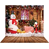 SJOLOON 10X10FT Christmas Backdrop White Snowman Wooden House Photography Background Vinyl Photo Studio Props 11301 (Color: 11301 10x10ft, Tamaño: 10X10FT)